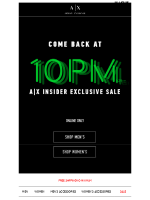 Come Back Tonight at 10PM (est): A|X Insider Flash Sale