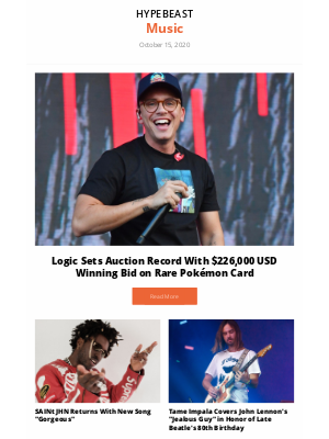 HYPEBEAST - Your Music Round-Up: Logic Sets Auction Record With $226,000 USD Winning Bid on Rare Pokémon Card and more
