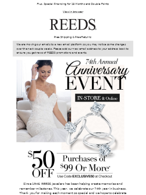 Celebrate Our Anniversary! Save $50 On $99+
