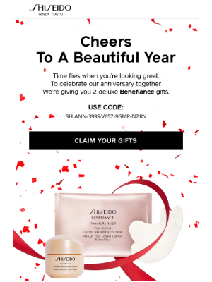 Shiseido - Your FREE Anniversary Gifts are Waiting