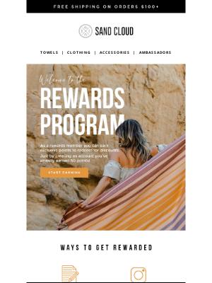 Sand Cloud Towels - Jaime, Welcome to Sand Cloud Rewards