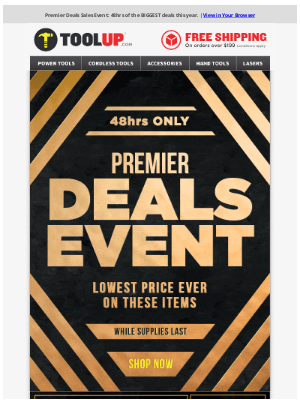 Toolup - Premier Deals Day - Our BIGGEST Sale This Year!