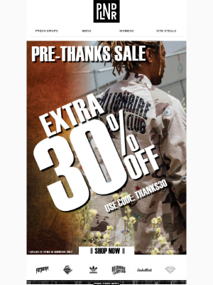 Pre-Thanks Sale | Extra 30% Off Billionaire Boys Club, Pink Dolphin, Crooks & Castles & soo many others