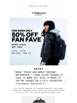 Timbuk2 - 50% OFF the Never Check Day Pack—One Week Only!