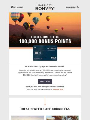 Limited-Time Offer: 100,000 Bonus Points