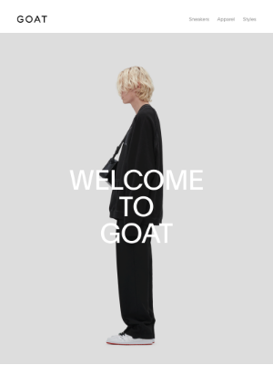 GOAT's welcome email design