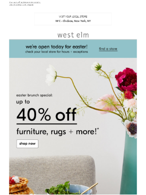 Better than a chocolate bunny: Up to 40% off furniture, rugs + more at our NYC - Chelsea store!