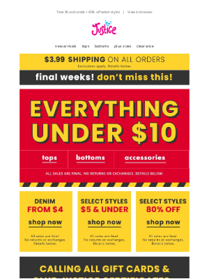 Justice - EVERYTHING under $10 + Leggings $5 and under