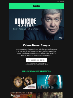 Hulu - lorem, Get Your Free One-Month Trial to Stream True-Crime and More