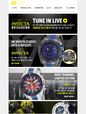 ShopHQ - An Invicta classic gets a facelift. Take an in-depth look at the Pro Diver Stinger.
