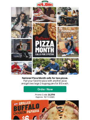 Papa John's - 2 large 2-topping pizzas, just $10 each