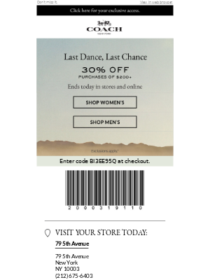 Last Dance, Last Chance For 30% Off