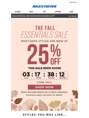 SKECHERS - 25% off your fall haul!