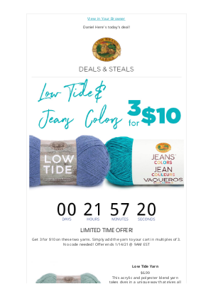 Lion Brand Yarn - 3 for $10 on Low Tide & Jeans® Colors!