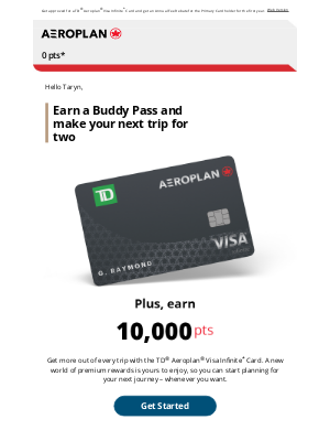 Air Canada - Taryn, make your next trip a trip for two with a bonus Buddy Pass.