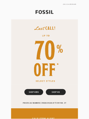 Fossil - Ending Tonight: Up to 70% Off
