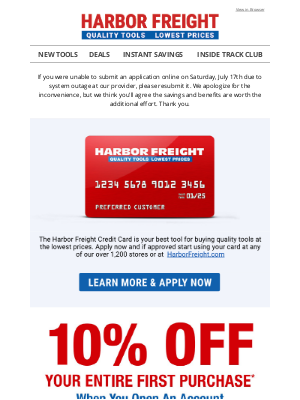 Harborfreight - Watch Your Savings Add Up - Get 10% OFF