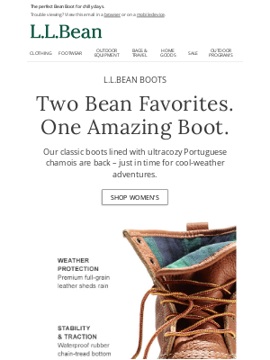 L.L.Bean - Chamois-Lined Bean Boots Are Back!