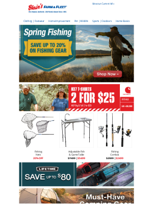 Blain's Farm and Fleet - Save on Fishing/Camping Gear + 2 for $25 Carhartt K87 T-Shirts!