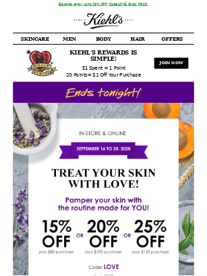 Kiehl's (CA) - 🚨 Our Special Offer ENDS TONIGHT! Don't Miss Out