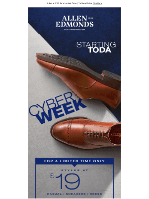 Allen Edmonds - Cyber Week Starts NOW!