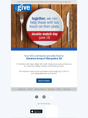 Meijer - Double Match Day is Back – Together, We can Help Feed Our Hungry Neighbors