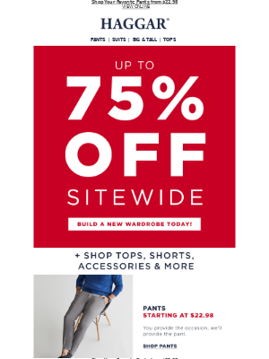 Up to 75% off Sitewide + Shorts $19.99!