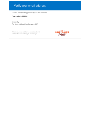 HoneyBaked Ham Online - The Honey Baked Ham Company LLC account email verification code