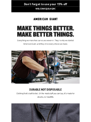 American Giant - Our values are woven into our products