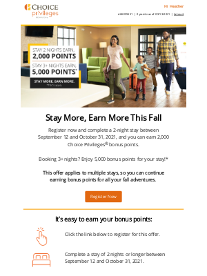 Choice Hotels - Fall is Near, and Bonus Points Are Here! Register to Start Earning