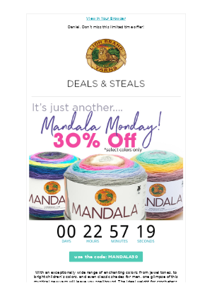 Mandala® Madness - 30% Off Select Colors!