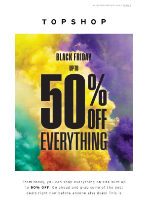 Topshop (UK) - It's here! Up to 50% off everything 🖤