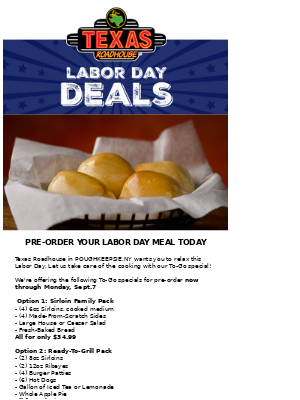 Texas Roadhouse - Labor Day TO-GO Special Starting At $34.99