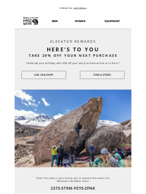 Mountain Hardwear - A 20% off birthday reward just for you!