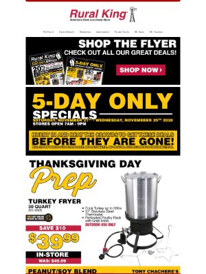 Rural King Supply - Thanksgiving Prep + 5-Day Specials!