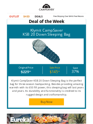 CampSaver - 37% OFF Klymit CampSaver KSB 20 Down Sleeping Bag