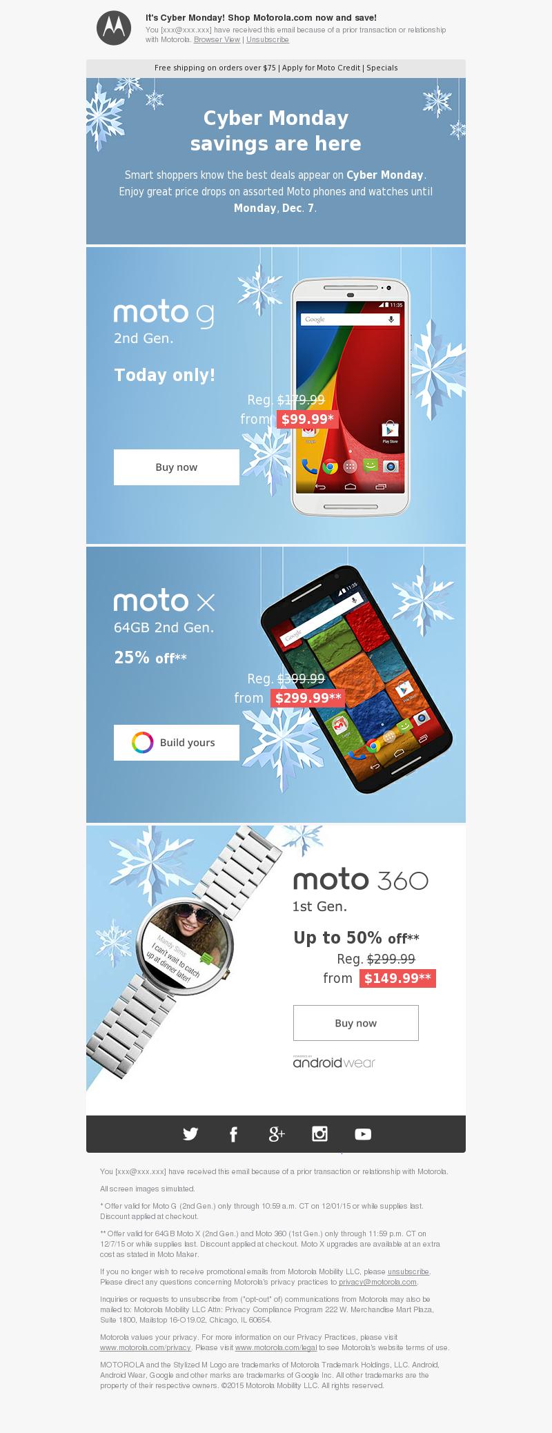 It's Cyber Monday! Shop Motorola.com now and save! You [xxx@xxx.xxx] have r
