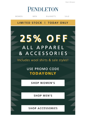 Pendleton Woolen Mills - Today only