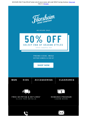 Florsheim Shoes - 50% Off Select End Of Season Styles