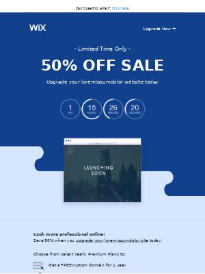 Get 50% OFF when you upgrade your loremipsumdolor website!