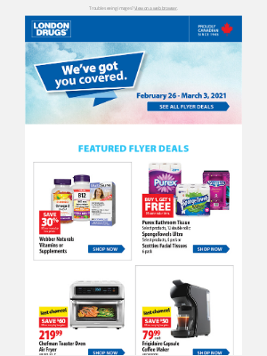 London Drugs (CA) - Our new weekly flyer is here! Featured deals include a Biotherm 3-piece gift with a minimum $39 Biotherm purchase (conditions apply)