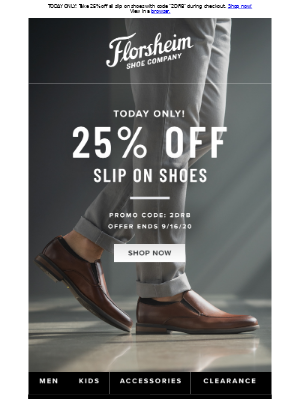 Florsheim Shoes - Doorbuster Deal: 25% off all slip on shoes
