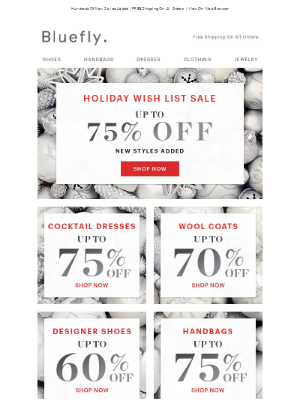 Save 75% On Handbags, Cocktail Dresses, Watches & Sunglasses