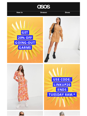 ASOS (US) - 20% off* going-out garms 💃 🍽 🕺