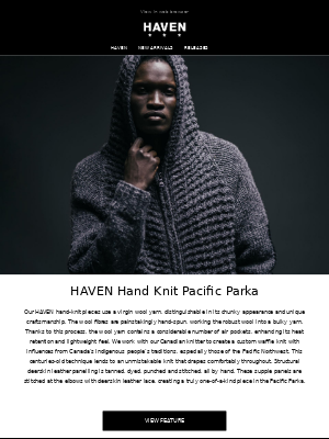HAVEN Hand Knit Pacific Parka