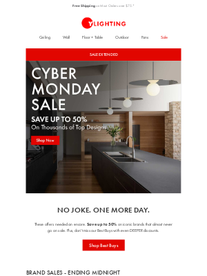 YLighting - EXTENDED: Cyber Monday Sale.