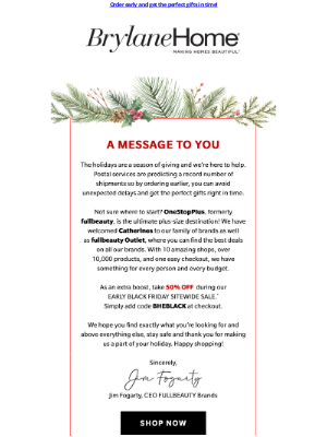 Brylane Home - An important holiday message from our CEO