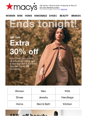 Macy's - Last day to save big: extra 30% off!