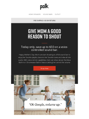 Polk Audio - Today Only! Save $50 On Sound Bars For Mom That She Can Shout About