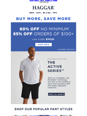 60% Off Sitewide or 65% Off $100+